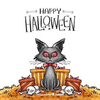 Fundo de dia das bruxas em aquarela com gato preto