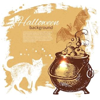 Fundo de dia das bruxas. ilustração desenhada à mão