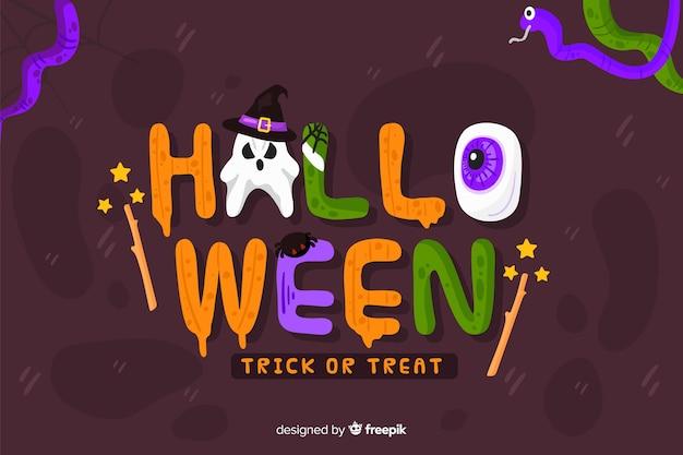 Fundo de dia das bruxas letras de halloween