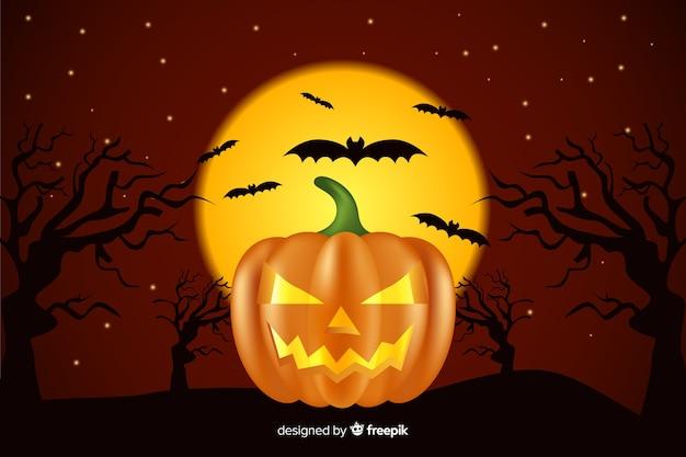 Fundo de dia das bruxas realista com abóbora e morcegos