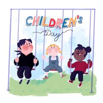 Fundo de dia das crianças em aquarela