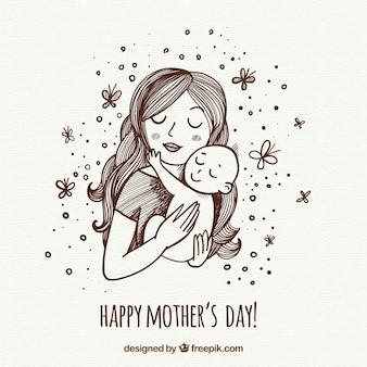 Fundo de dia das mães com a família feliz