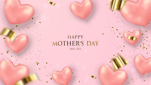 Fundo de dia das mães com balões de amor rosa com escrita de ouro.