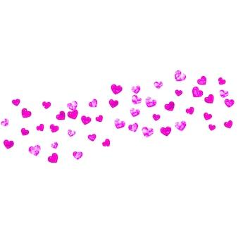 Fundo de dia das mães com confete de glitter rosa. símbolo do coração isolado na cor rosa. cartão postal para plano de fundo do dia das mães. tema de amor para convite de festa, oferta de varejo e anúncio. design de férias femininas