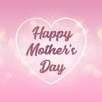 Fundo de dia das mães com coração em luzes de bokeh