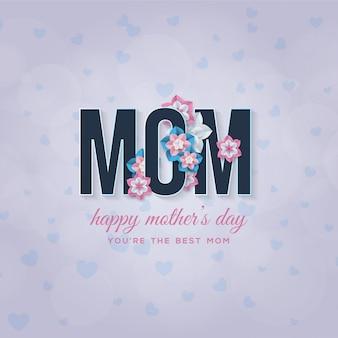 Fundo de dia das mães com escrita azul escura com flores azuis, brancas e rosa