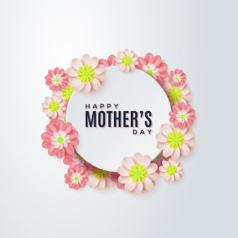 Fundo de dia das mães com flores coloridas.