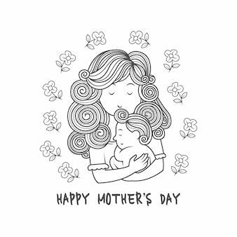 Fundo de dia das mães com ilustração de família feliz. mãe abraçando seu bebê.