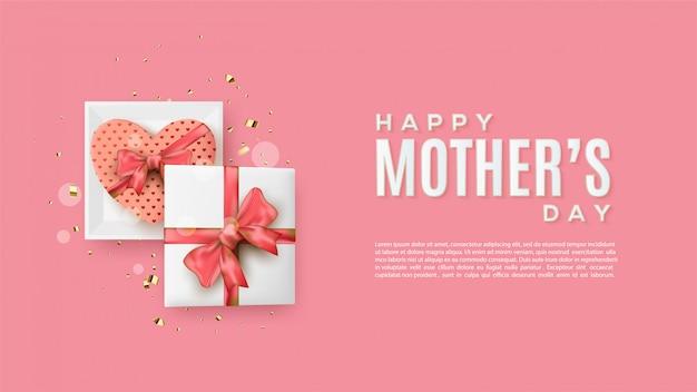 Fundo de dia das mães com ilustrações de caixa de presente quadrada e amor.