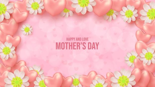 Fundo de dia das mães com ilustrações de flores cor de rosa com balões de amor