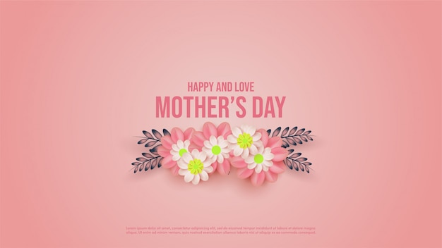 Fundo de dia das mães com ilustrações de flores cor de rosa.