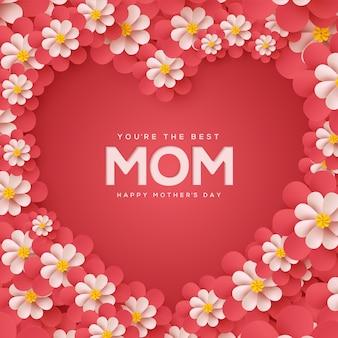 Fundo de dia das mães com ilustrações de flores vermelhas, formando o amor.