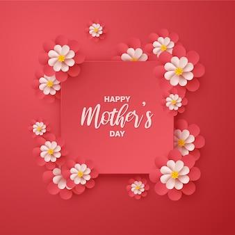 Fundo de dia das mães com ilustrações de flores vermelhas.