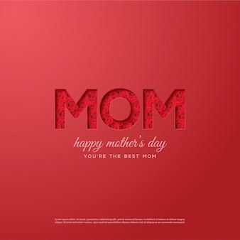 Fundo de dia das mães com ilustrações de rosas vermelhas na escrita da mãe