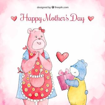 Fundo de dia das mães com ursos