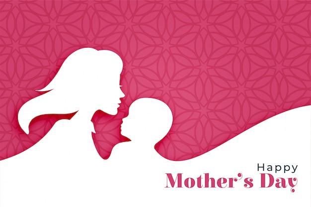 Fundo de dia das mães feliz com silhueta de mãe e filho