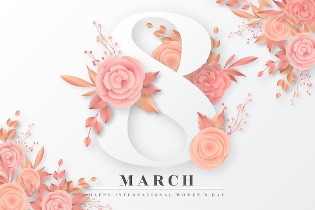 Fundo de dia das mulheres com flores douradas e blush