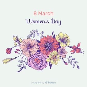 Fundo de dia das mulheres de buquê de flores