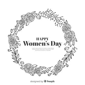 Fundo de dia das mulheres de grinalda floral incolor
