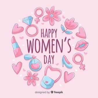 Fundo de dia das mulheres de mão desenhada