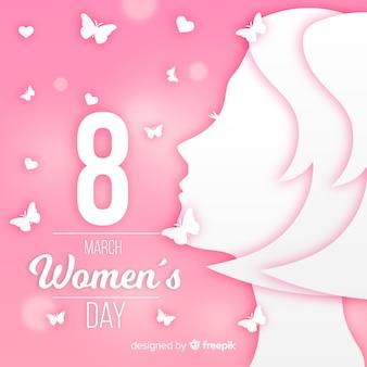 Fundo de dia das mulheres em estilo de papel