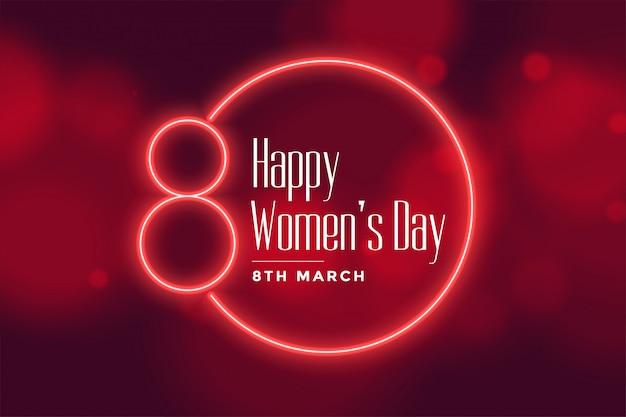 Fundo de dia das mulheres feliz estilo néon