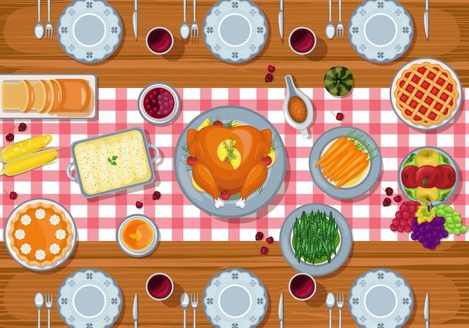 Fundo de dia de ação de graças com jantar tradicional feriado na mesa de madeira
