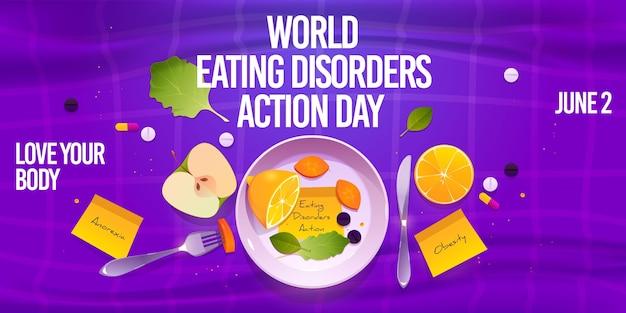Fundo de dia de ação de transtornos alimentares do mundo dos desenhos animados