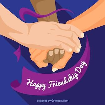 Fundo de dia de amizade com as mãos de apoio