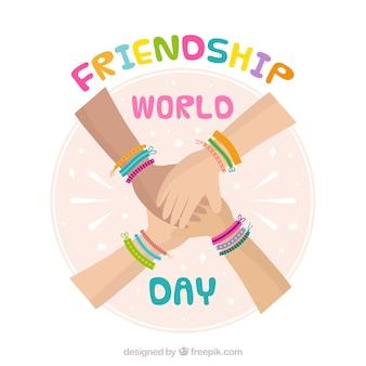 Fundo de dia de amizade com as mãos