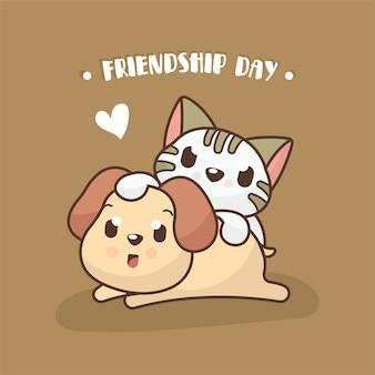 Fundo de dia de amizade com cachorro fofo e ilustração de gato