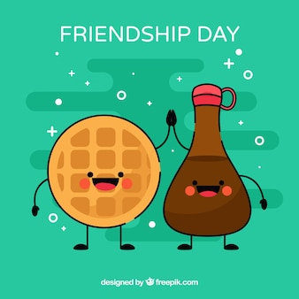 Fundo de dia de amizade com comida de desenho animado