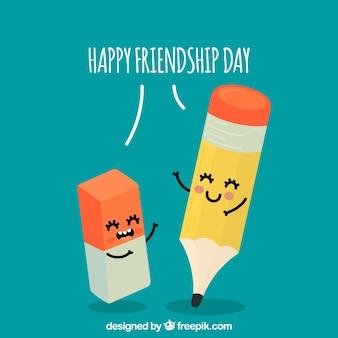 Fundo de dia de amizade com desenhos animados bonitos