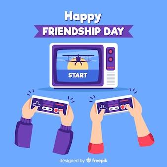 Fundo de dia de amizade design plano