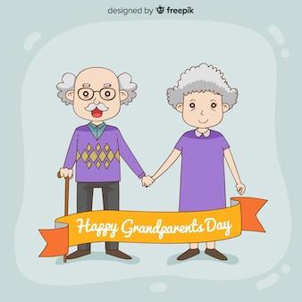 Fundo de dia de avós bonito mão desenhada