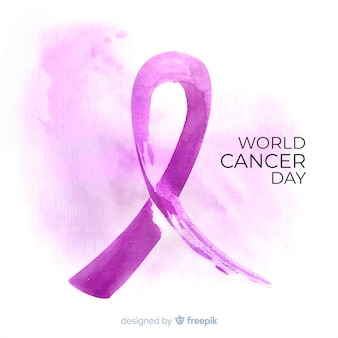 Fundo de dia de câncer de aquarela de mundo