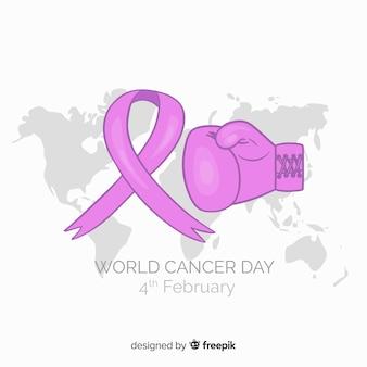 Fundo de dia de câncer de mão desenhada mundo