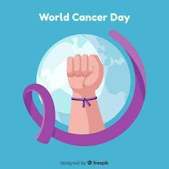 Fundo de dia de câncer de mundo plana