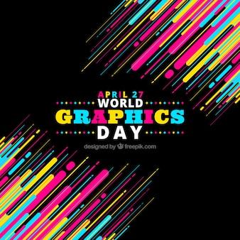 Fundo de dia de gráficos do mundo colorido