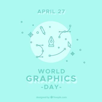 Fundo de dia de gráficos do mundo com ferramentas de ícone
