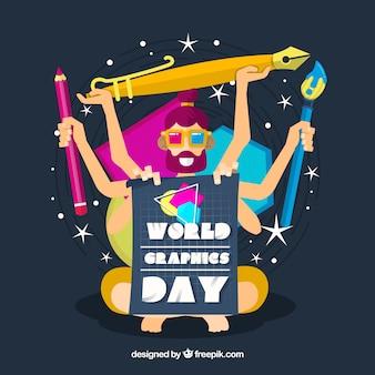 Fundo de dia de gráficos do mundo com ferramentas de trabalho