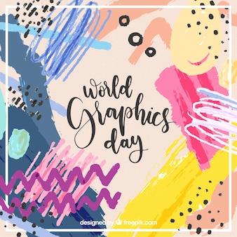 Fundo de dia de gráficos do mundo com formas abstratas em estilo aquarela