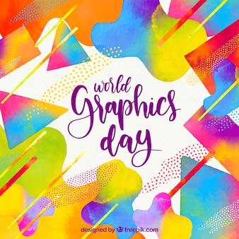 Fundo de dia de gráficos do mundo com formas geométricas em estilo aquarela