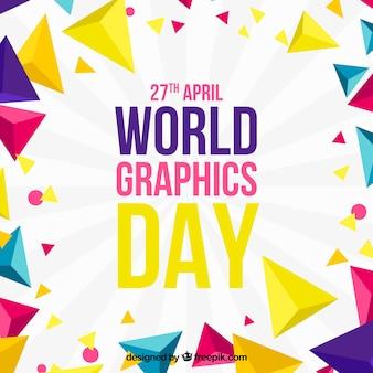 Fundo de dia de gráficos do mundo com formas geométricas