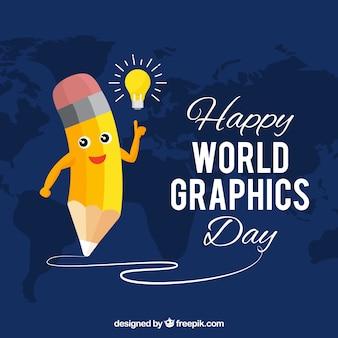 Fundo de dia de gráficos do mundo com lápis fofo