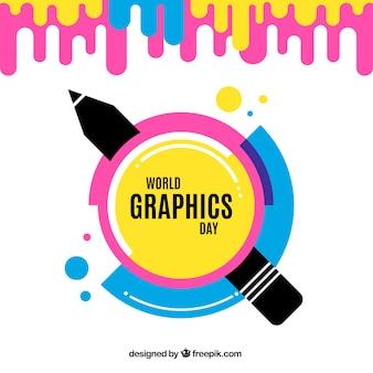 Fundo de dia de gráficos do mundo em estilo simples