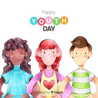 Fundo de dia de juventude de estilo aquarela