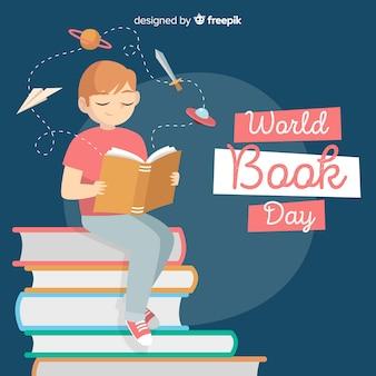 Fundo de dia de livro de mundo de mão desenhada