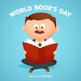 Fundo de dia de livro mundo plana