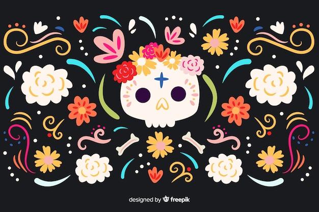 Fundo de dia de muertos de mão desenhada